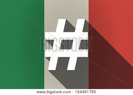 Long Shadow  Italy Flag With A Hash Tag
