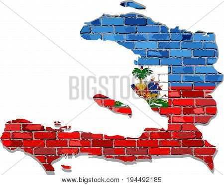 Haiti map on a brick wall - Illustration,   Haiti map with flag inside
