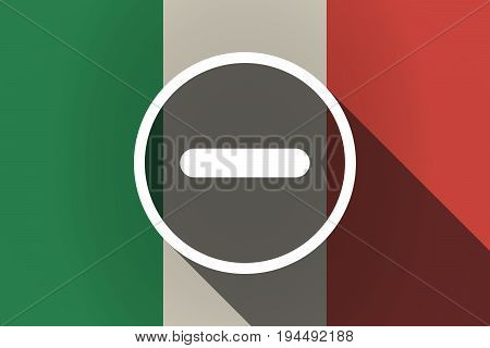 Long Shadow  Italy Flag With A Subtraction Sign