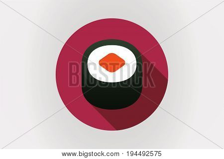 Long Shadow Japan Flag With A Piece Of Sushi Maki