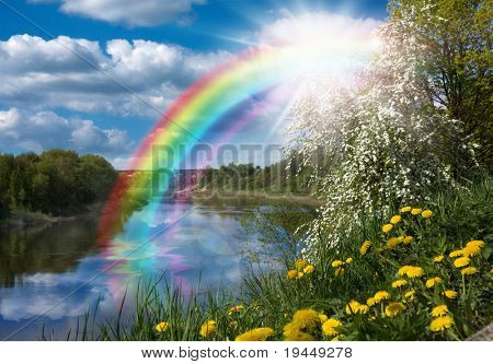 Landscape with a Rainbow on the River in Spring