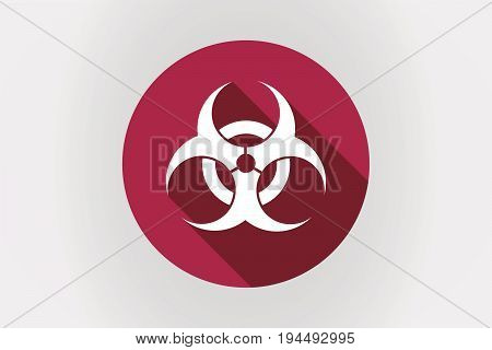 Long Shadow Japan Flag With A Biohazard Sign