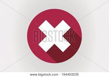 Long Shadow Japan Flag With An X Sign