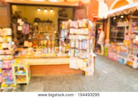 Abstract Blur Or Defocus Background Of Window Display Souvenir