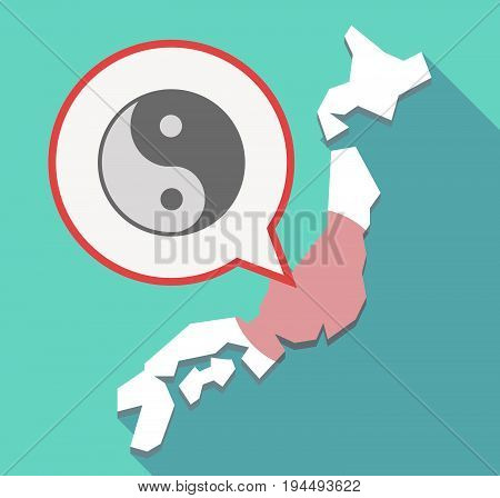 Long Shadow Japan Map With A Ying Yang