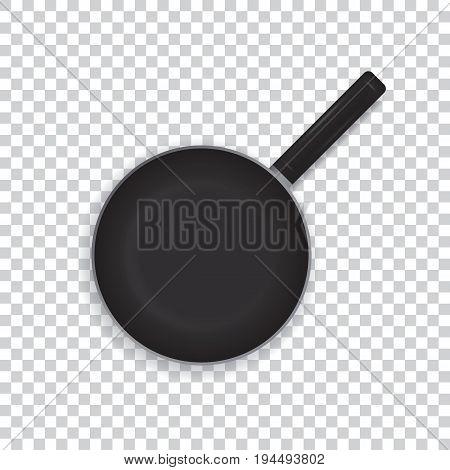 Realistic frying pan on a transparent background. Black frying pan with a handle for cooking. View from above. Vector illustration.