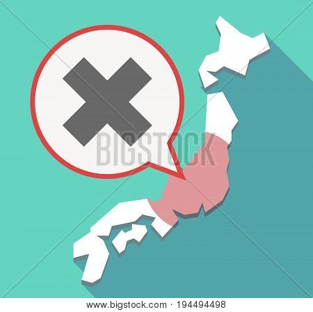 Long Shadow Japan Map With An X Sign