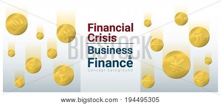 Business and Finance concept background with financial crisis , vector , illustration