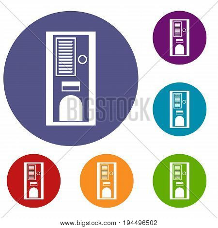 Coffee vending machine icons set in flat circle reb, blue and green color for web