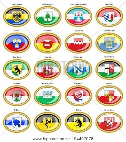 Set Of Icons. Flags Of German Cities (bavaria).