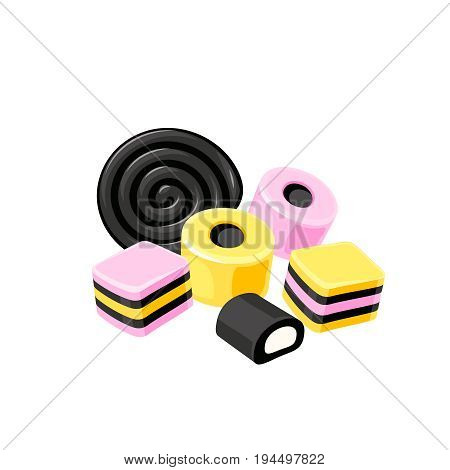 Licorice striped color layered candy. Vector illustration flat icon template isolated on white.