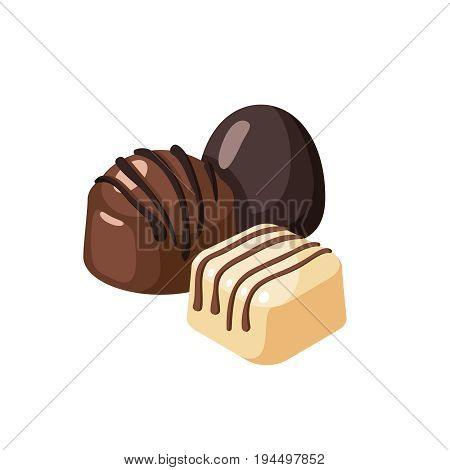 Striped dark white chocolate covered bon-bons. Vector illustration candy  flat icon isolated on white.