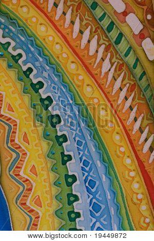pattern drawn on the silk fabric, macro