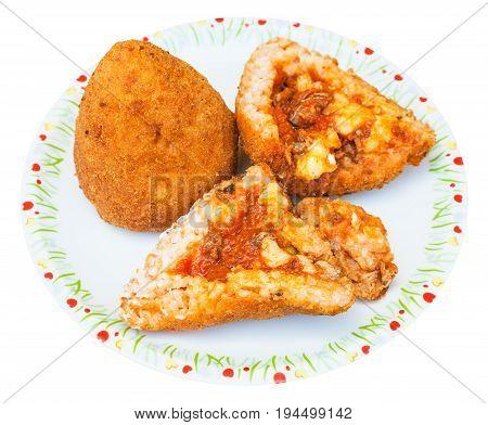 Ragu Stuffed Rice Balls Arancini On Plate Isolated