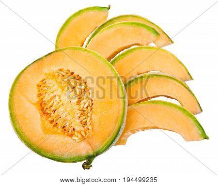 Slices Of Ripe Sicilian Cantaloupe Melon Isolated