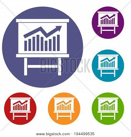 Growing chart on presentation board icons set in flat circle reb, blue and green color for web