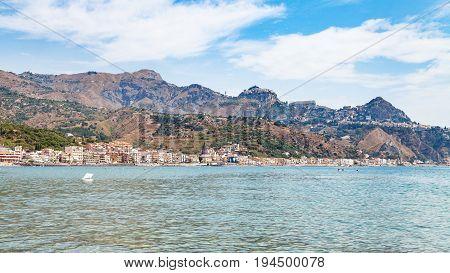 Panoramic View Of Giardini Naxos And Taormina City