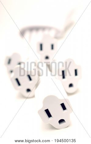 White power extension cords, close-up