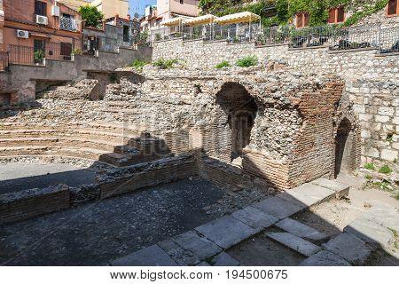 Ruins Of Ancient Roman Theater Odeon In Taormina
