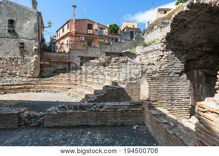 Ancient Roman Amphitheatre Odeon In Taormina