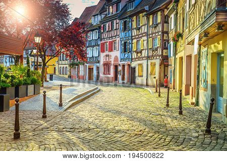 Stunning colorful ornamented facades in medieval Little Venice district Colmar Alsace France Europe