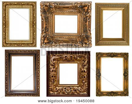 picture gold frame  on a white