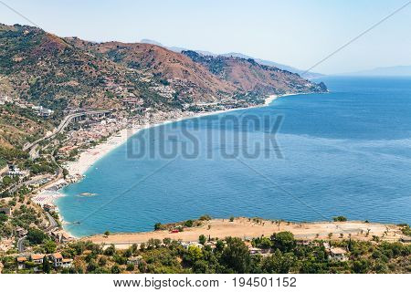 View Of Letojanni Resort Village From Taormina