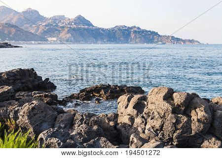 Rocks Coastline Of Ionian Sea In Giardini Naxos