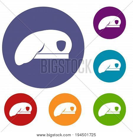 Military beret icons set in flat circle reb, blue and green color for web