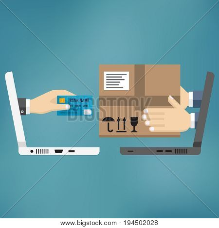 Online shopping concept. Fast delivery. Two laptops with hands holding money and parcel.
