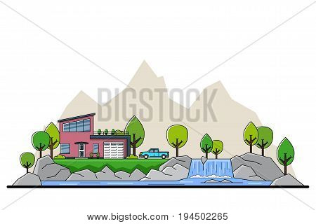 picture of modern private residential house with trees and big sitsilhouette on background, real estate and construction industry concept, flat line art style illustration