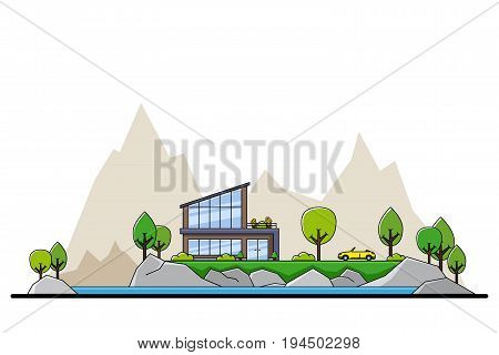 picture of modern private residential house with trees and big  city silhouette on background, real estate and construction industry concept, flat line art style illustration