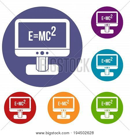 Monitor with Einstein formula icons set in flat circle reb, blue and green color for web