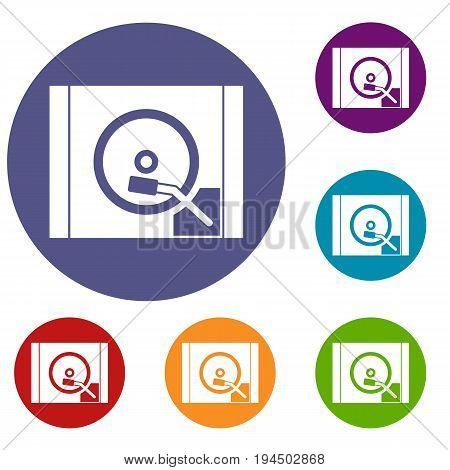 Turntable icons set in flat circle reb, blue and green color for web