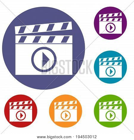 Clapperboard for movie shooting icons set in flat circle reb, blue and green color for web