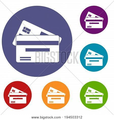 Credit card icons set in flat circle reb, blue and green color for web