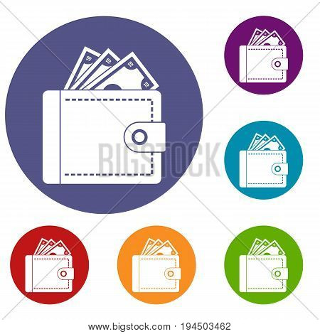 Purse with money icons set in flat circle reb, blue and green color for web