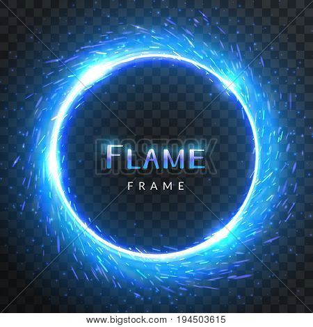 Realistic round blue flame frame with inscribed text vector template illustration on transparent background