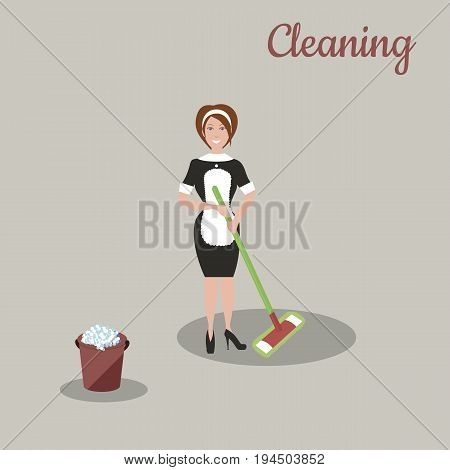 Cute cleaner in dark dress and white apron with the tools for housekeeping: a burgundy bucket with soapy foam, MOP with green handle and cloth. Gray background. Vector illustration. Cleaning