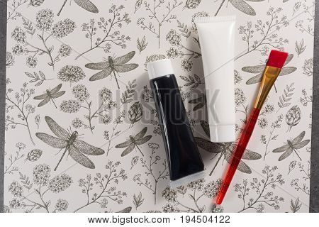 Colours In Design, Black And White  - Home Or Office Interieur Design Concept, Tubes With Acrylic Pa