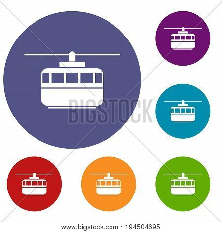 Funicular icons set in flat circle reb, blue and green color for web
