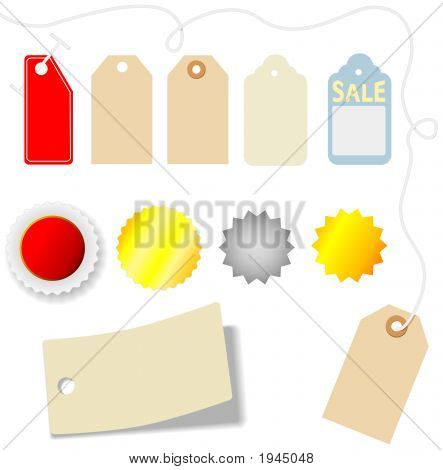 Set of assorted price tags and stickers on white. poster