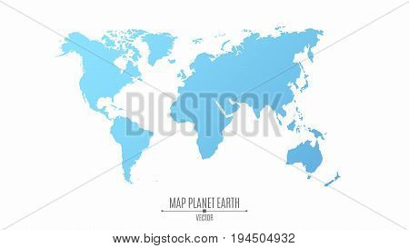 Map of the planet earth in a flat style. The continents are blue. The big planet. Vector illustration