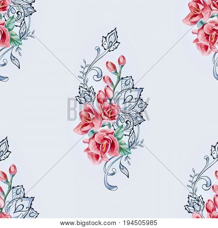 Seamless pattern of red freesia on white background.