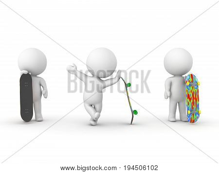 Three 3D Characters Holding Skateboards