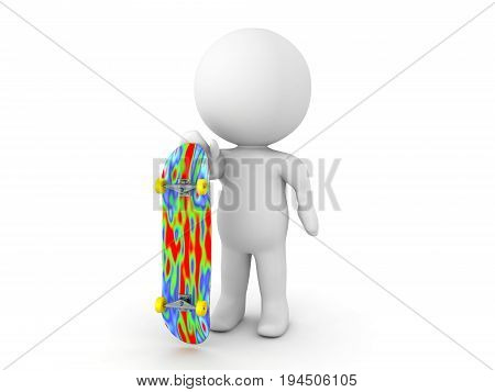 3D Character Holding Skateboard