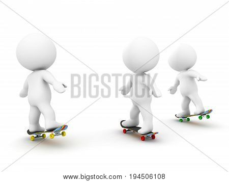 3D Characters Riding On Skateboards