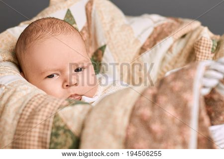 Look of little kid. Baby boy face.
