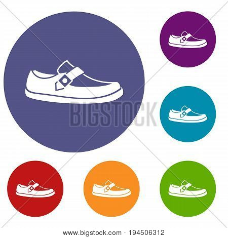 Men moccasin icons set in flat circle reb, blue and green color for web