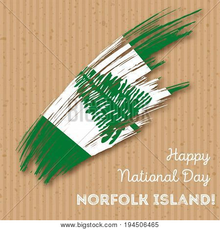 Norfolk Island Independence Day Patriotic Design. Expressive Brush Stroke In National Flag Colors On